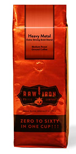 Extra Strong Ground Gourmet High Caffeine Coffee Heavy Metal High Grade Rich Bold Indonesian blends Small Batch 12oz Bag by Raw Iron Coffee Company (Heavy Metal 12oz) ()