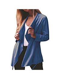 VEZAD Store Womens Cardigan Solid Turn Down Collar Long Sleeve Thin Coat Outerwear