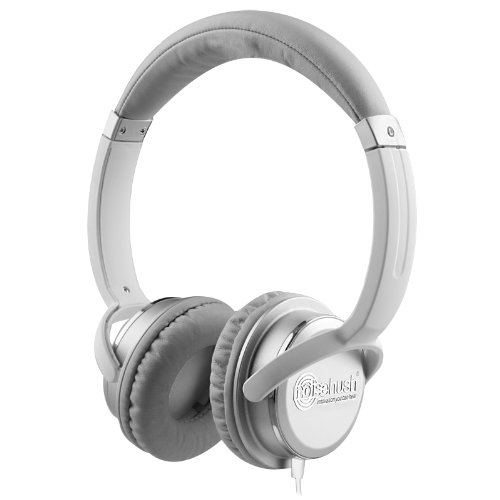 NoiseHush NX26-11853 3.5mm Stereo Headphones with Neodymium Magnet Drivers Medium for all Apple iPad/iPhone/MP3 Players and most Cell Phone Models White/Silver, Best Gadgets