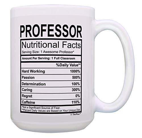 Professor Mug Professor Nutrition Facts Professor Appreciation Gifts 15-oz Coffee Mug Tea Cup White