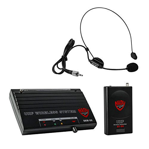 Dual Nady Headset - Nady DKW-8U Wireless Guitar/Instrument UHF System-includes wireless bodypack, receiver, AC adapter, guitar cable and audio cable-Easy setup-Electric guitar, bass, or other instruments with a pickup