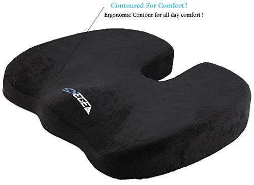 TECHEGE Orthopedic Gel Enhanced Comfort Foam Grade A Coccyx Tailbone Backpain Comfortable Cushion (Black) (Pressure Relieving Cushions compare prices)