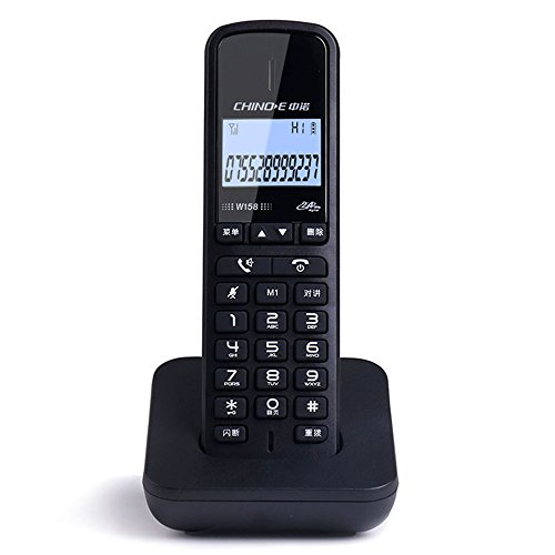 (Phone Digital Cordless, Home Business Office Wireless landline, Chinese Button and menu Display Fyxd (Color : Black))