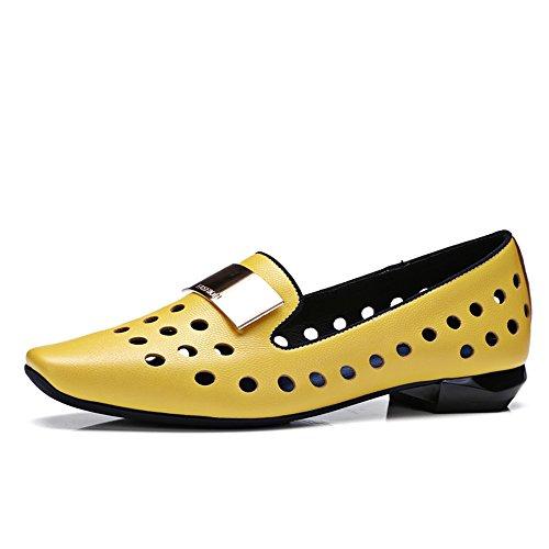 Nine Seven Cuero Puntera Cuadrada Bailarinas Planos Cómodos con Hueco para Mujer amarillo