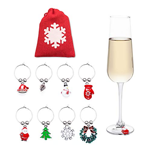 (Cork & Leaf Wine & Champagne Glass Charms - Holiday Christmas Wine Charms, Wine Drinker Gifts - Wine Glass Tags, Cocktail Drink Markers - Set of 8 Rings with a Red Storage Bag )