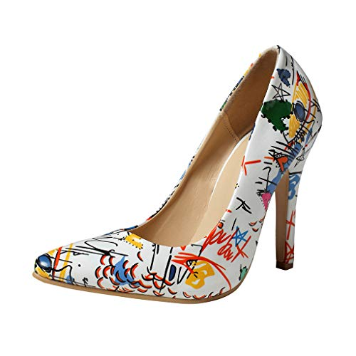 Cenglings Women's Pointed Toe Shallow Shoes Wild Ladies Stiletto Heel Print Pumps Sexy Single Shoes ()