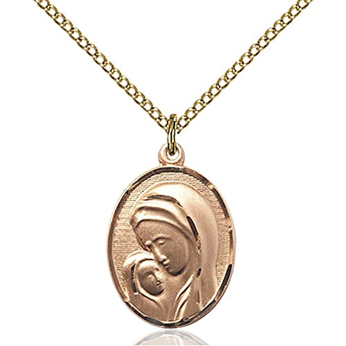 Gold Filled Madonna & Child Pendant 3/4 x 1/2 inches with 18 inch Gold Filled Curb Chain by Unknown