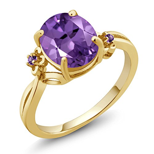 2.51 Ct Oval Purple Amethyst 14K Yellow Gold Ring (Size 9) -