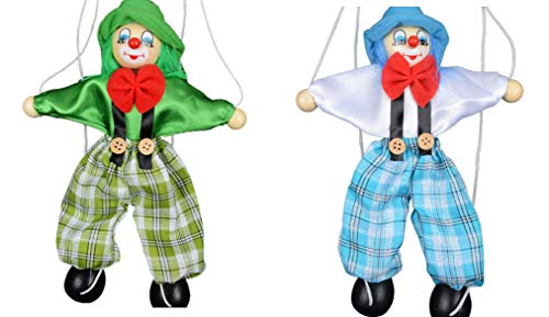 Sparik Enjoy 2 Packs Clown Hand Marionette Puppet Children's Wooden Marionette Toys Colorful Marionette Puppet Doll Parent-Child Interactive Toys- Green and Blue]()