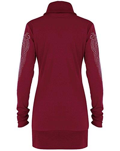 Biubiu Manches Longues Sexy Femmes Perles Moulante Mince Haut Cavalier En Forme Mini-robe Rouge