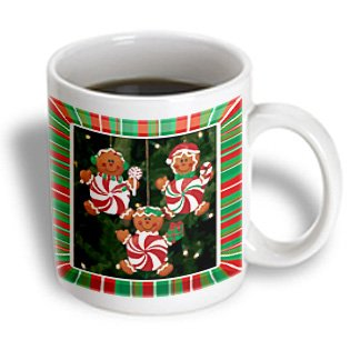 3dRose Peppermint Gingerbread Ornaments Mug, 11-Ounce