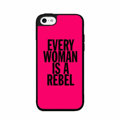 Every Woman Is A Rebel - 2-Piece Dual Layer Phone Case Back Cover iPhone 5 5s comes with Security Tag and MyPhone Designs(TM) Cleaning ()
