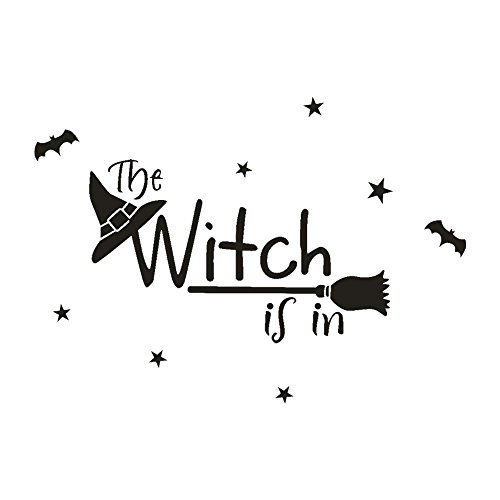 OTTATAT Wall Stickers for Bedroom Boys 2019,Happy Halloween Witch Bat Window Home Decoration Decal Decor Easy to Peel Wedding SleepingGift for boy Free Deliver Clearance]()
