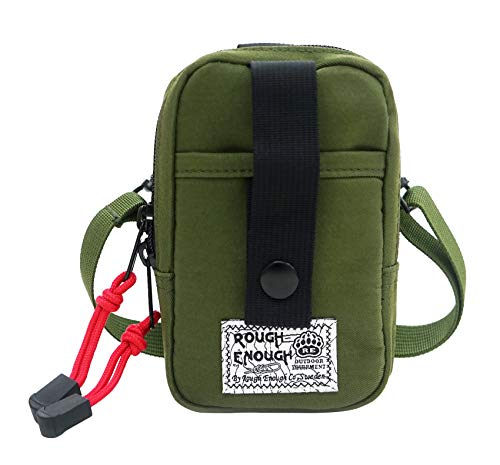 Rough Enough Small Stuff Mobile Pouch Small Shoulder Bag in Multifunction Including Shoulder Strap,climbing Style Buckle with Lock Functional.mp3,phone Pouch,iphone,ipod(free Shipping) (Green)