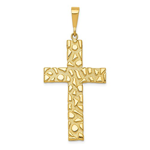 FB Jewels Solid 14K Yellow Gold Nugget Style Cross Pendant ()