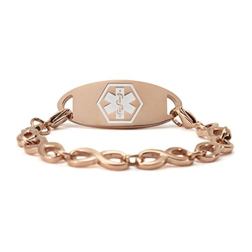 Amozo Jewelry Rose Gold Medical Alert Bracelets For Women With Infinite Chian Bracelets