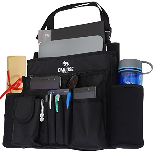 "DMoose Car Front Passenger Seat Organizer with Laptop & Tablet Storage (17"" x 14"") – Adjustable Strap, Strong Buckles, Neoprene Thermal Pockets – Keeps Car Necessities Organized and Within Easy Reach"