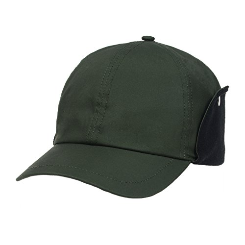 GP Accessories Mens Womens Ear Flap Baseball Cap Waxed Cotton Medium Green