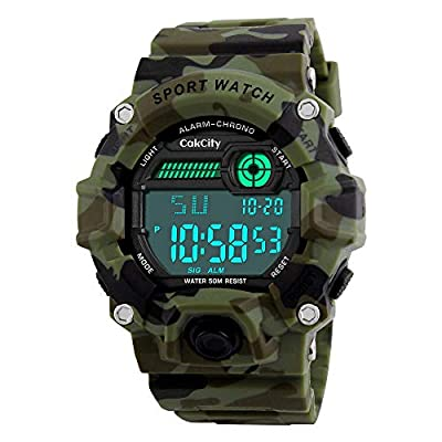 Boys Camouflage LED Sports Watch,Waterproof Digital Electronic Military Wrist Kids Watch with Silicone Band Luminous…