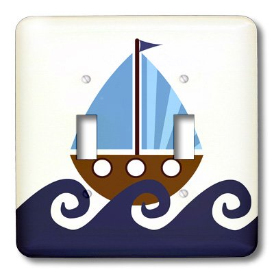 3dRose LLC lsp_15413_2 Little Boy Cute Blue and Brown Sailboat, Double Toggle Switch