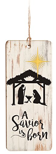 A Savior Is Born Nativity White Wash 4 Inch Wood Hanging Ornament (Thankful Tree Craft)