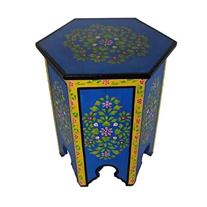 Superbe Blue Moroccan Hand Painted End Table Corner Table Accent Table XL