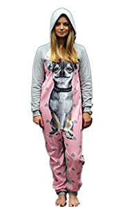 Womens Dots And Dreams Pink Dog Pj Jumpsuit Onesie