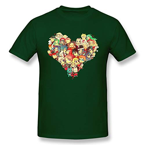 (VJJ AIDEAR Fairy Tail 100% Organic Cotton Short Sleeve T Shirts for Mens Forest Green 36)