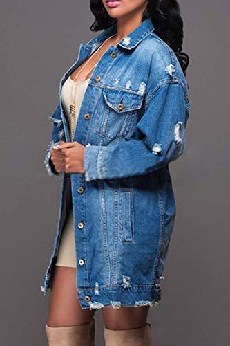 Breasted Tasche Manica Cappotto Cavo Outwear Vita Elegante Moda Di Donna Bavero Jeans Glamorous Giacche Alta Casual Semplice Autunno Anteriori Blau Single Lunga R7g88W