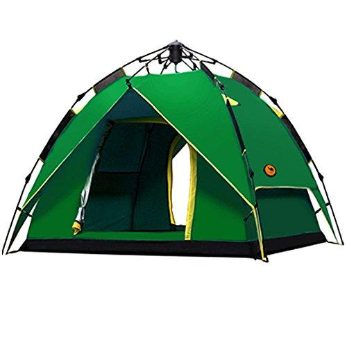 落ちた農場ヘロイン5W ワンタッチテント 2~3人用 アウトドア テント 設営簡単 高通気性 紫外線カット 防雨 防風 防災 軽量 キャンプ用品 アウトドア 登山 折りたたみ ツーリング テント 収納ケース ロープ ペグ 付き (ダックグリーン)