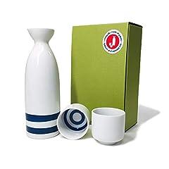 [Mino-Yaki / Tokkuri of Janome & Ochoko set] This is a set of Tokkuri and Ochoko for those who love to whole-heartedly enjoy delicious Japanese Sake. This set of Tokkuri with Janome design and Ochoko is a product very popular as a souveni...