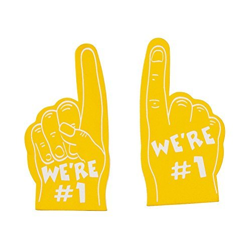 (Team Spirit Yellow Mini Foam Fingers (12 Pack) Foam 5
