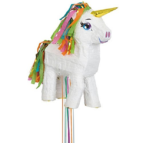 UNIQUE PARTY White Unicorn Pull Pinata (17 x 13in) (White)]()
