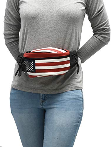 CCW Concealed Carry 5 Compartment Durable Patriot Genuine Leather/Poly Waist Fanny Pack for Small Pistols. (Best Self Defense Handgun For Concealed Carry)