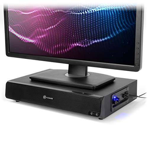 GOgroove SonaVERSE BSE 2.1 Computer Speakers and Monitor Stand - USB Speaker Sound Base with Built-in Subwoofer and 3 inch Monitor Riser 2-in-1 System, Mic and Headphone Jack, Volume & Bass Controls (Best Computer Sound Bar)