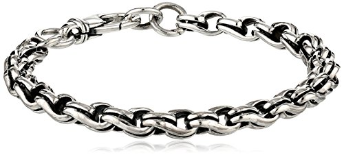 Zina Sterling Silver Men's Collection Wrap Men's Link Bracelet by Zina Sterling Silver