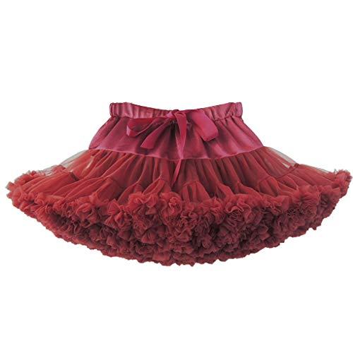 Princesse Danse Classique Vin Fille Petticoat Tutu Jupe Rouge Acmede Plissé Jupe Ruffle Courte Élastique Bfgqwp