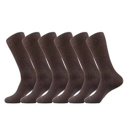JOYNÉE Men's 6 Pack Casual Business Bamboo Crew Dress Socks,Brown,Sock Size:10-13 ()