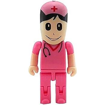 Aneew 16GB Pendrive Pink Nurse Women Hospital Robot USB Flash Drive Memory Stick U Disk