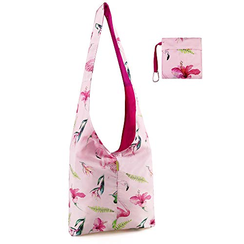 Crossbody-Reusable-Bag-Folding-Tote with Pouch Washable for Women Grocery Shopping Travel Large Messenger Sling Bag with Top Zipper Eco Friendly Cute Red Cherry Patterns Black Nylon]()