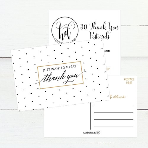 50 4x6 Blank Fill In Thank You Postcards Bulk, Cute Modern Chic Boho Thank You Note Card Stationery For Wedding Bridesmaid, Bridal / Baby Shower, Teachers, Appreciation, Religious, Business, Holidays Photo #2