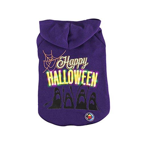 Bat Costumes For Cat (Halloween Dog LED Clothes Costume Pet Cats Sweatshirt Bat Hoodie Sweater Clothing Shirt Winter Thick Costume Coat Puppy Kitten Warm Shirt (S))
