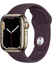Apple Watch Series7 (GPS + Cellular, 41mm) - Gold Stainless Steel Case with Dark Cherry Sport Band - Regular