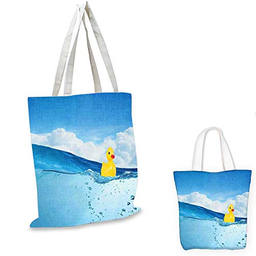 Rubber Duck canvas shoulder bag Little Duckling Toy Swimming in Pond Pool Sea Sunny Day Floating on Water canvas lunch bag Blue and Yellow. 12