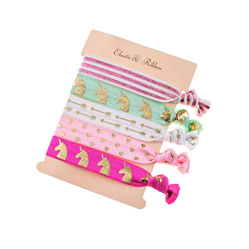 DDazzling Girls Unicorn Hair Ties Elastic Hair Ties Party Favors (Rose Pink White Green) ()