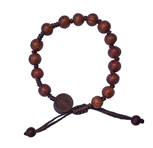 Hand-made Dark Wood Rosary Bracelet