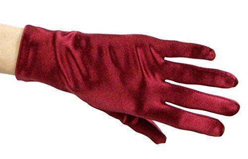 Beautiful Wrist Length Short Satin Gloves, Burgundy by Greatlookz