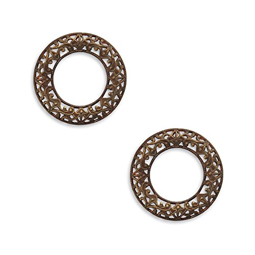 (Vintaj Scrolled Filigree Ring - 28mm. 2 Decorative Ring Embellishments. Great for Jewelry Making and Scrapbooking.)