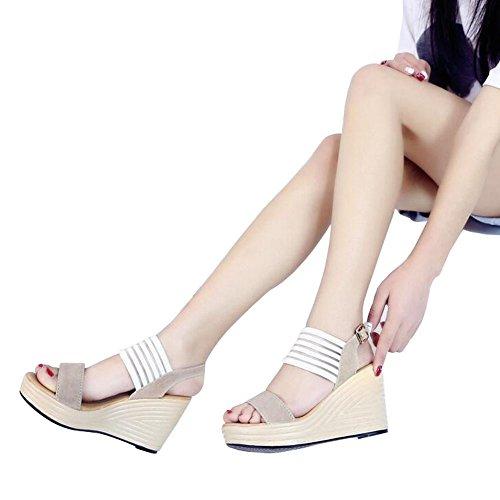 Angelliu Mode Kvinnor Damer Sommar Ränder Sy Flatform Kilar Sandaler Aprikos