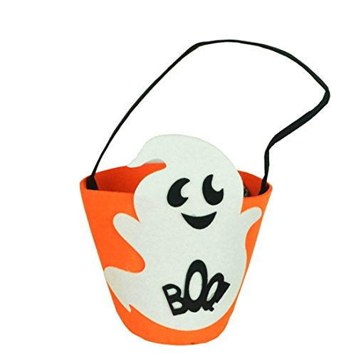 Boo Bucket - SUKEQ Halloween Goody Bags, Baby Grils Boys Kids Durable Pumpkin Candy Storage Bag Gift Bucket Tote Bag for Halloween Party Costumes (Boo Printed)